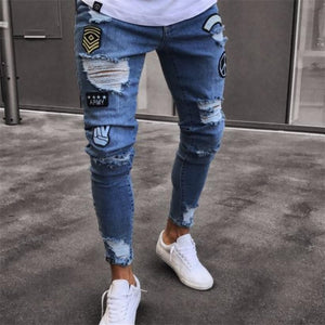 Men's Stretchy Ripped Skinny Jeans