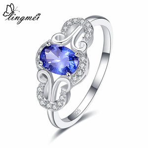 Blue/Red/White Cubic Zircon 925 Silver Ring