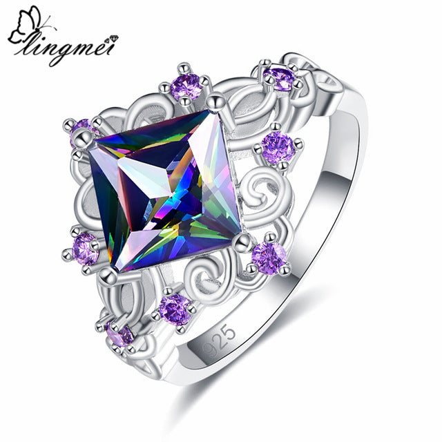Princess Cut Rainbow/Blue/White/Purple Cubic Zircon Silver 925 Ring
