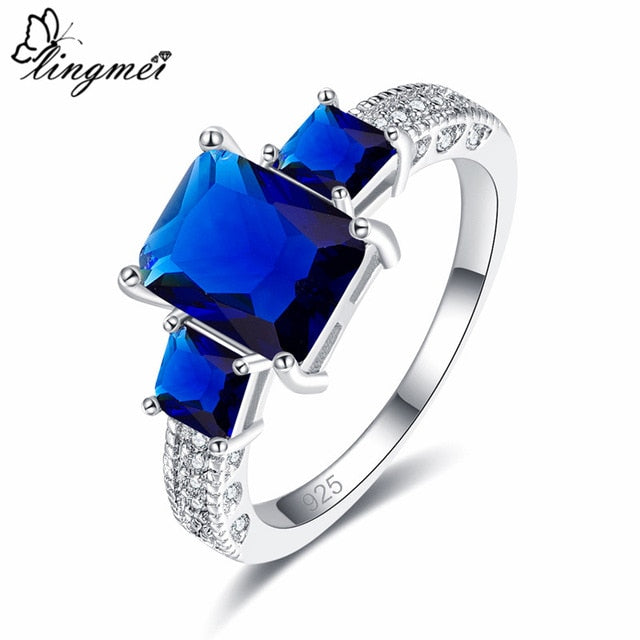 Rainbow/Blue/White Cubic Zircon Silver Ring