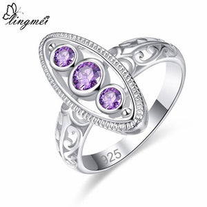 Round Purple/Pink/White CZ Silver Color Ring