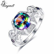 Fire Rainbow/White Cubic Zircon Silver Ring