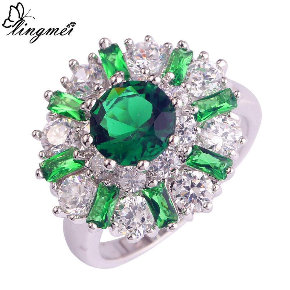 Green/White CZ Silver Color Ring