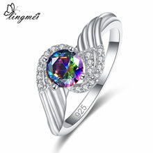 Round Cut Rainbow/White/Black Cubic Zircon Silver Ring