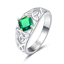 Exquisite Princess Multi-color/Green CZ Silver Color Ring