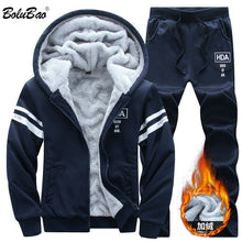 New Winter Tracksuits for Men Set Thicken Hoodies + Pants