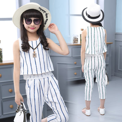 Girls Clothing Set Summer Clothes Suit Striped Casual 6-12 Years