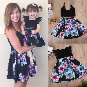Mother/Daughter Lace Floral Print Strap Sleeveless Mini Dress