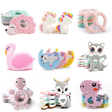 BPA Free Silicone Teethers Silicone Rodent Tiny Rod DIY Teething Necklace Baby Shower Gifts Cartoon Animals Teether Necklace 1pc