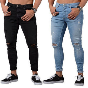 Men's Skinny Jeans Black Distressed Denim Stretch