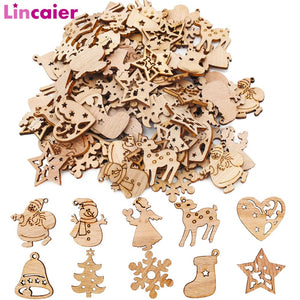 50 pc Wooden Christmas Decorations Mini Tree Ornaments