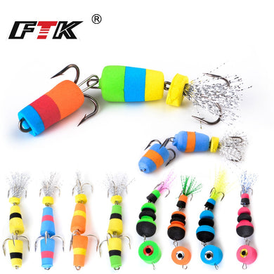 FTK Fishing Lure 4pcs Jig Swivel Soft Lure Insect bait Swim baits Wobbler Bass Lure Minnow Popper Floats Fishing Accessories