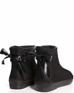 Tie Up Black Ankle Welly Boots