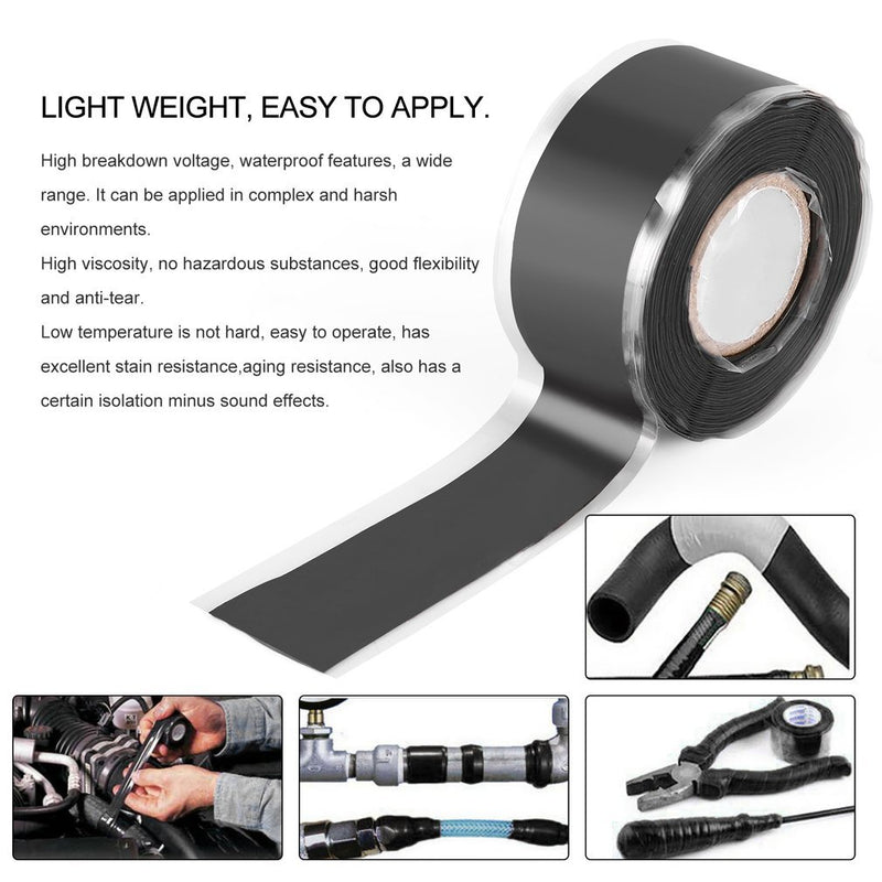 Universal Black Waterproof Pipe Repair Tape Stop Water Leak Burst Plumbers Adhesives Tape Hardware Tools