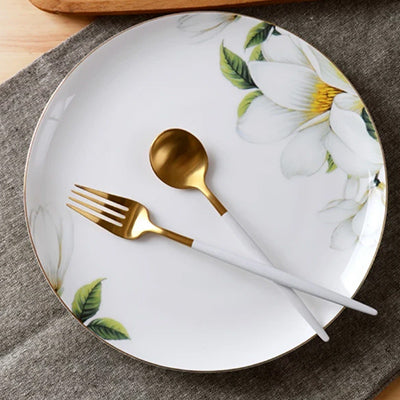 6.0inch, bone china serving dishes, porcelain buffet dishes, dining plates platte, ceramic golden plate, kitchen dinnerware