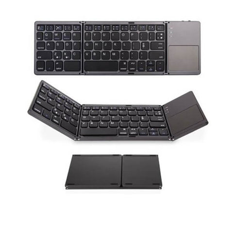 [منتجات رائجه] Portable Folding Bluetooth Keyboard Wireless Rechargeable Foldable Touchpad English Russian for IOS/Android/Windows ipad Tablet