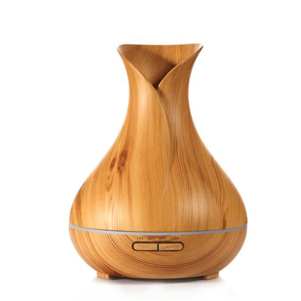 Ultrasonic Humidifier Tulip Vase Style 14W 400ML Wood Grain Cool-Mist Aromatherapy