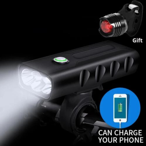 USB Rechargeable Built-In 5200mAh 3Modes Bicycle Light Waterproof Headlight