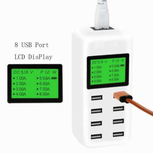 8 Port Smart USB Charger Hub with LCD 40W
