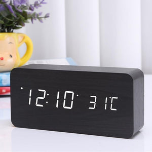 Voice Control LED Digital Alarm Clock Wooden Wireless Charging Charger