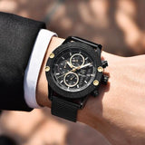 Sport Chronograph Fashion Watches Men Mesh & Rubber Band Waterproof