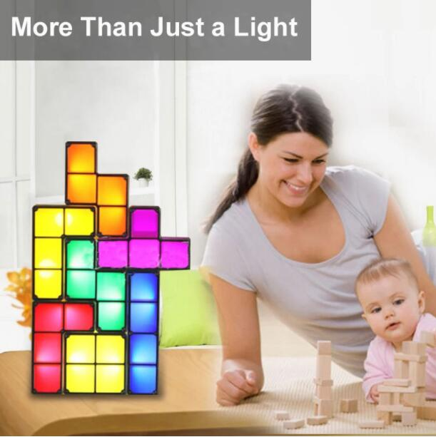 【Hot Sale】Tetris Puzzle LED Light Desk Lamp Gift For Friends 7 Pieces a set!