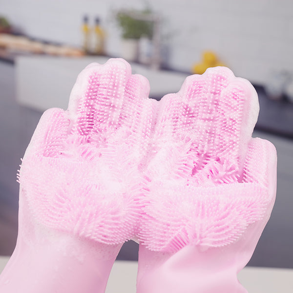 2PCS Multifunction Silicone Cleaning Gloves Magic For Kitchen Household [BUY 2 ONLY 170SAR]