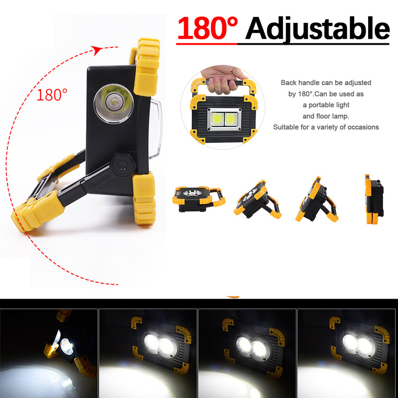 100W COB Work Lamp LED Portable Lantern Waterproof 4-Mode Emergency Portable Spotlight Rechargeable Floodlight for Camping Light