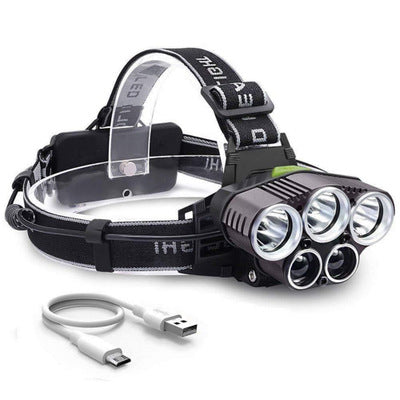 Six Mode USB Charging Outdoor Night Fishing 5 LED Strong Headlamp Outdoor Multi-function Headlight