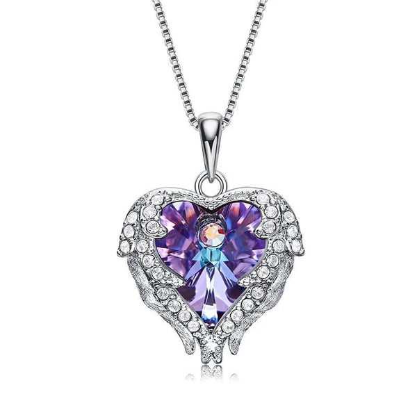 Sterling silver Women  Colorful Crystal Angel Wings Heart Pendant Necklace