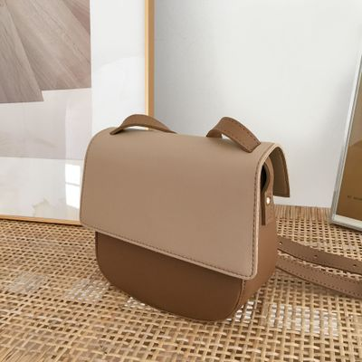 One-shoulder solid color retro hit color chi temperament wild saddle bag