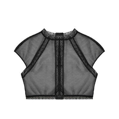 Sexy mesh lace stitching perspective vest underwear