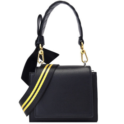 Classic yellow line shoulder strap bow shoulder bag