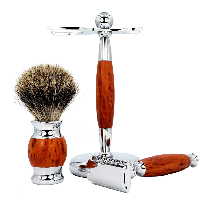 Men's razor set retro double-sided vintage manual wood grain long handle shaving knife holder