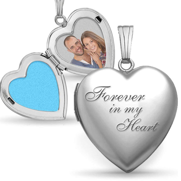 'Always in my heart Heart' Printing Photo Locket Necklace With Engraving S925
