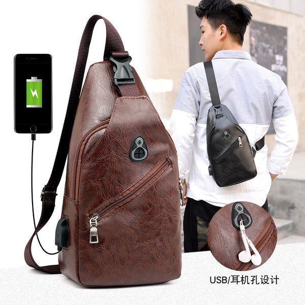Men's Shoulder Bag Leather Travel Daypack Purse Anti-theft USB Charging Handbag