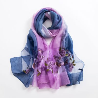 【Lucky Discount】 Fashion Silk Scarf Wild Embroidery Scarf Embroidered Shawl Wool