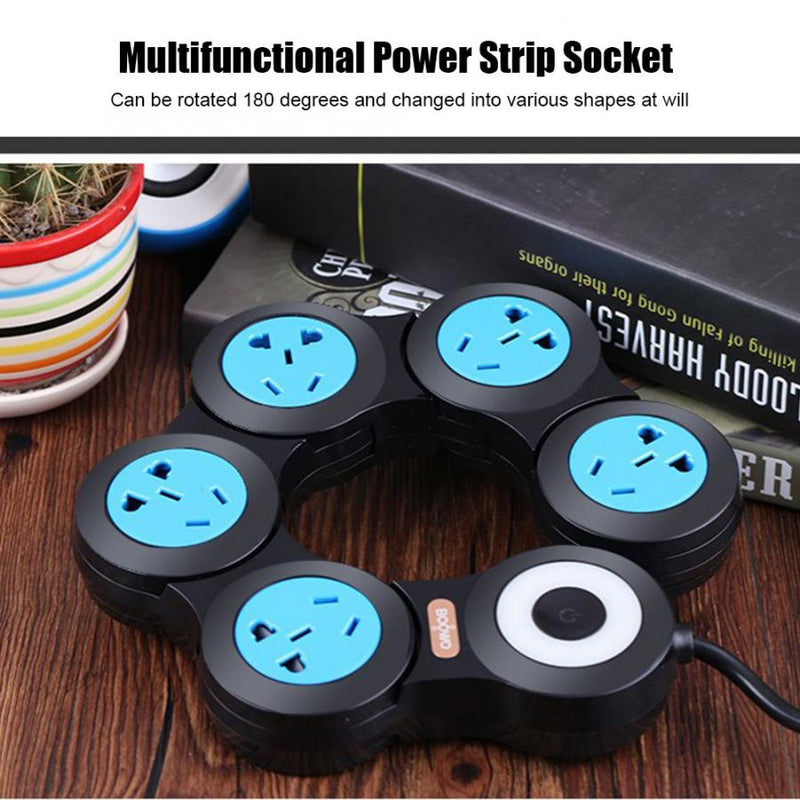 Top 100 50% OFF!10A Multifunctional Power Strip Socket 5 Sockets Outlet with USB Port