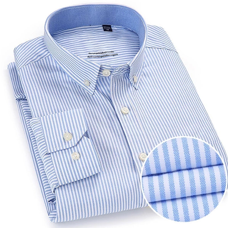 Men Shirt Long Sleeve Regular Fit Men Plaid Shirt Striped Shirts Men Dress Oxford Camisa Social 5XL 6XL large sizes Streetwear