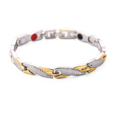 Wish Hot Men's Titanium Steel Gold Bracelet Women's Jewelry Pattern 7mm