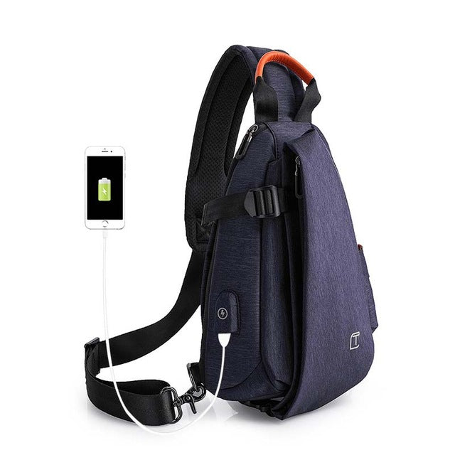 Tangcool Multifunction Fashion Crossbody Bags Men USB Charging Chest Pack Short Trip Messengers Bag Water Repellent Shoulder Bag
