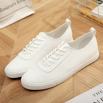 Pure White Leather Canvas Shoes Korean Couple Models White Shoes Men and Women Wild Pure White Shoes