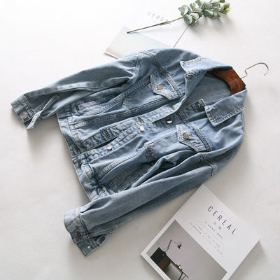 Fashion Casual Style Women's New Lapel Washed Denim Jacket Female