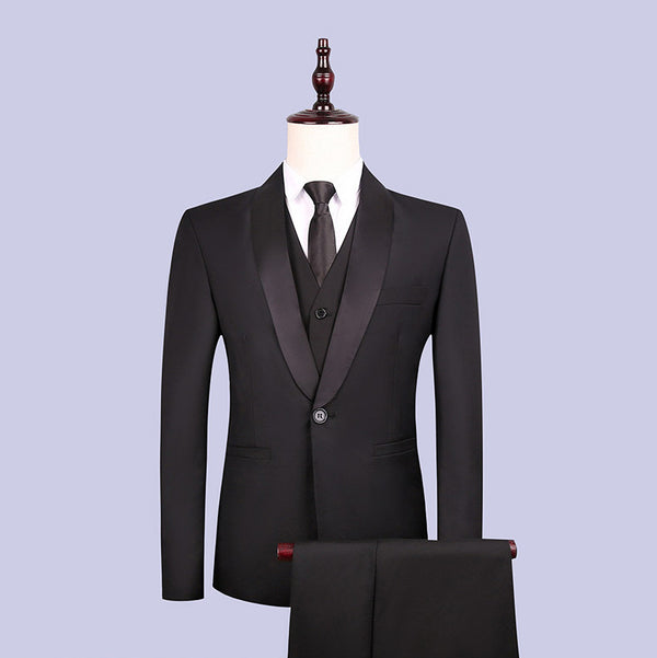New 2019 men's suit three-piece groom suit Slim men's best man dress