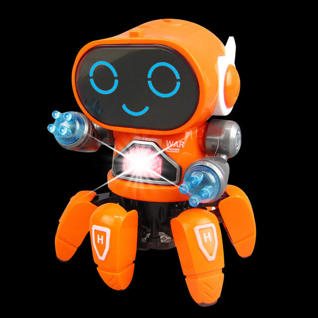 Small Boys Cute Kids Electric Music Dancing Gift Birthday LED Eyes Flexible Six Claw Robot Toy Action Children