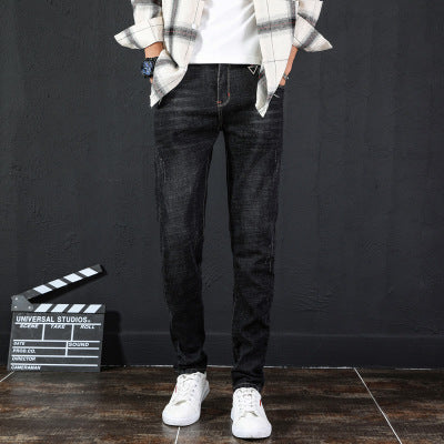 New Jeans Men's Trend Korean Version Self-Cultivation Men's Feet Jeans Stretch Casual Trousers