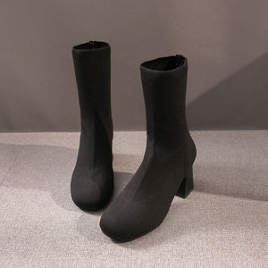 New Sleeve Thick with Ankle Boots Black Mid-boots Pointed Socks High-heeled Elastic Boots