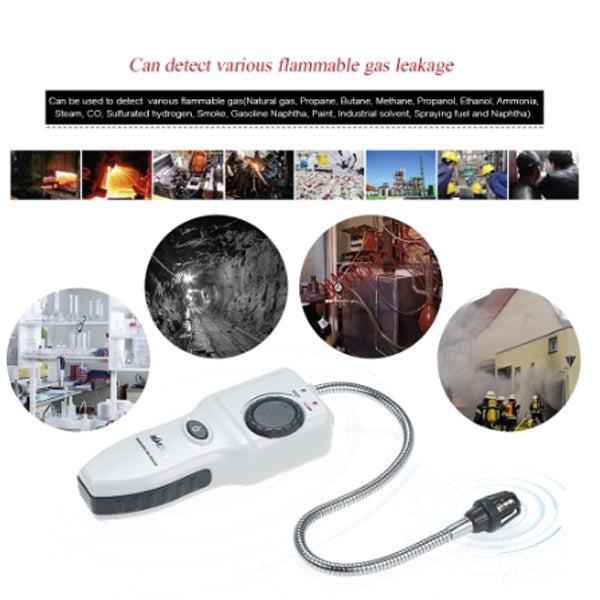 Flammable Combustible Gas Detector Handheld Portable Gas Leak Tester Gas Leakage Location Determine Tester with Sound Light Alarm Adjustable Sensitivity