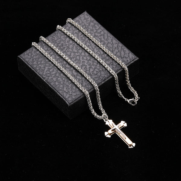 Classic Cross Men Necklace Hot Sale Men Chain Necklace Trendy Jewelry Fashion Gift Stainless Steel