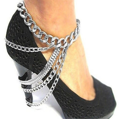Fashion Jewelry Supply Multi-layer Tassel High Heels with Chain Decoration Anklet Clothing Accessories